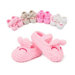 Wholesale Knitted Cute Shoes - Princess Baby Girls Shoes Rabbit Ear Cute Crochet Knitted Toddle Shoes Soft For Children First Walkers