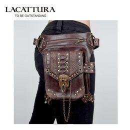 Wholesale Master Legs - LACATTURA Master Personality steampunk gothic Messenger shoulder bag male and female mini purse retro rock waist bag leg bag