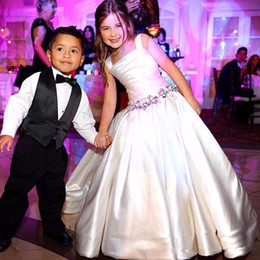Wholesale Black Satin Bow Belt - 2017 New Flower Girls Dresses For Weddings Square Neck White Crystal Belt Beaded Sweep Train Birthday Children Communion Girl Pageant Gowns