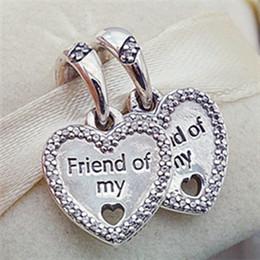 Wholesale Pandora Friendship Charm - 2017 Summer 925 Sterling Silver Hearts of Friendship Dangle Charm Bead Fits European Pandora Jewelry Bracelets Necklaces & Pendant
