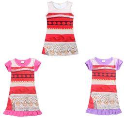 Wholesale Cartoon Baby Dresses - Baby Girl Dress Moana Cartoon Summer MOANA Dress Kids Costumes Fashion Girls Children Dress 10 p l