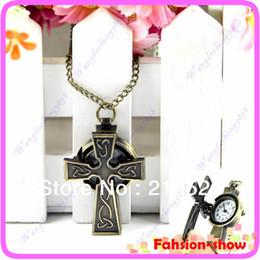 Wholesale Bronze Cross Jewelry - Wholesale- Cool Antique Bronze Cross Style Pocket Watch Pendant Quartz Necklace Chain Gift Fashion Jewelry