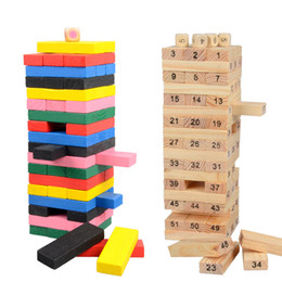 Wholesale Domino Game Toys - New Wooden Tower Building Blocks Toy 54pcs Domino+4pcs Stacker Extract Building Educational Toy Creative Family Game Gift