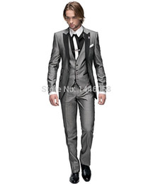 Wholesale Tuxedo For Groom Purple - Wholesale- 2016 Italian Groomsmen Suit Business Custom Made Formal Dress Men Wedding Suits Groom Tuxedos For Men 3 Piece Suit Slim Fit