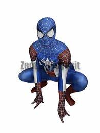 Disfraz de Capitán América Traje de hombre araña de la película Disfraz de fiesta Capitán América Zentai Halloween desde fabricantes