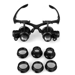 Wholesale Magnify Eye Glasses - Magnifying Glasses Resin Lupa 10X 15X 20X 25X Eye Jewelry Watch Repair Magnifier Glasses With 2 LED Lights New Loupe Microscope