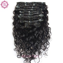Wholesale Clips For Natural Hair - Clip in Human Hair Extensions Water Wave Brazilian Virgin Human Hair Extensions Clips Ins 8pcs Set for Whole Head Free Ship