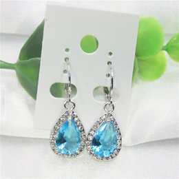 Wholesale Wholesale Jewellery Sapphire - Light blue white topaz cubic zirconia stone teardrop-shaped earrings for ladies fashion women party jewellery
