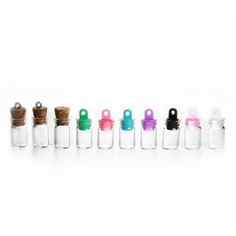 Wholesale Mini Bottles Nail - 1ML Tiny Small transparent Mini Glass wishing Bottle drifting bottles Vials with Plastic nail tools fast shipping F2017403