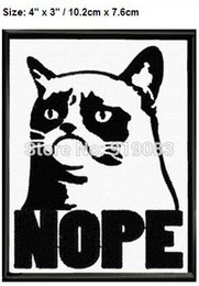 "Wholesale Funny Patches - 4"" Grumpy Cat Nope Funny Patch TV Movie Film Halloween Cosplay Costume Embroidered iron on badge applique patches for clothing"