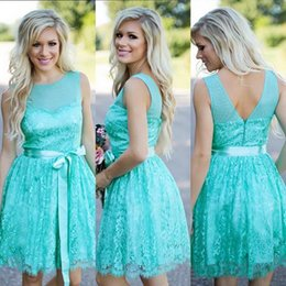 Wholesale Turquoise Line - Turquoise Filly Flair Bridesmaids Dresses Country Jewel Backless Ribbon Lace Short Bridesmaid Formal Dress Wedding Party Gowns Plus Size
