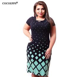 Wholesale Big Polka Dot Women Dress - Wholesale- High quality Summer dress 2016 fashion women big size women clothing casual o-neck plus size bodycon Dress vestido de festa