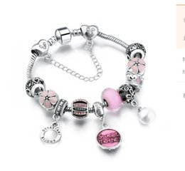 Wholesale Sweet Cherry Bracelet - Fits Pandora Charm bracelets Pink Sweet mother Dangle Heart Pearl Pendants Austrian Crystal & Cherry Flower Stopper beads Snake Chain Bangle