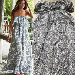 Wholesale China Sexy Women - Wholesale-Sexy Women Party China Print Floral Beach Dress Boho Off-shoulder Maxi Long Dress UK S M L XL