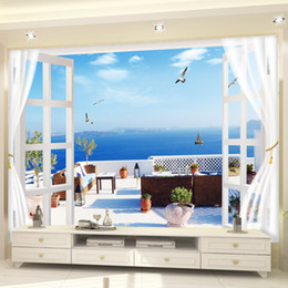 Wholesale Country Living Interiors - Custom 3D Photo Wallpaper Window Seascape Beach Palm Wall Covering Mural Roll For Living Room 3d stereo space expansion interior wall Decor