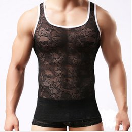 Wholesale Mens Transparent Vests - Dress Sexy Mens Tank Top Sleeveless Undershirt Lace Transparent Slinglet See Through Vest Shirts Brand Hot Gilet Brand Clothing