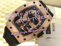 Wholesale Gold Watches China - 3 Style Luxury Men's China Loong Dragon Dial Automatic Watch Men Tourbillon Rose Gold Sport Watches Mens Rubber Mens AAA Brand Wristwatches