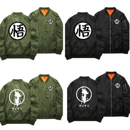 Wholesale Dragon Ball Sweater - Wholesale- DRAGON BALL Son Goku Cosplay Anime Coat Jacket Sweater Cotton Thick Hoodie Zipper Light Cotton Liner