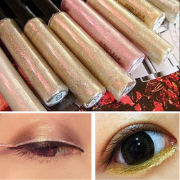 Wholesale Eye Liner Liquid Blue - Wholesale- 2016 Hot Color Pencils Eye Liner Makeup Natural Waterproof Shimmer White Gold Silver Make Up Liquid Shining Glitter Eyeliner