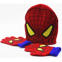 Wholesale Spider Man Gloves - Children Boys Girl Spider-man Knitted Crochet Beanies Cap Hats Sets Baby Cartoon Kids Winter Warm Gloves 1-5Years XMAS Gifts PX-H08