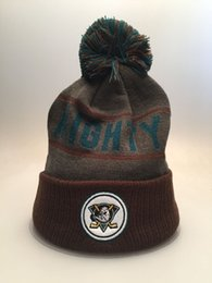 Wholesale Casual Football Style - 2 Styles MIGHTY DUCKS Knit Football Beanies Quality Winter Cap Skullies Ice Hockey Pom Embroidery Cuff Caps