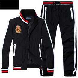 Wholesale Turtleneck Hoodies Men - 2017 Men's Hoodies and Sweatshirts Sportswear Man Polo Jacket pants Jogging Jogger Sets Turtleneck Sports Tracksuits Sweat Suits