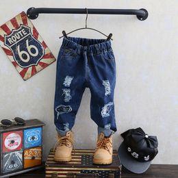 Wholesale Cowboy Legs - New Fashion Boys Denim Hole Trousers Kids Clothing Long Pants Casual Boy Cowboy Jeans Pant HOT 2017 Boy Pants Blue Trousers A7072