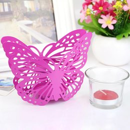 Wholesale Table Cup Stands - Hollow Out Butterfly Candle Holder Party Night Decor Table Furnishings Romantic Home Candle Holders Candles Stand Home Decoration