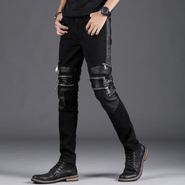 Wholesale Modern Men Shorts - Ripped Skinny Jeans Fashion Designer Mens Shorts Jeans Slim Motorcycle Moto Biker Causal Mens Denim Pants Hip Hop Men Jeans