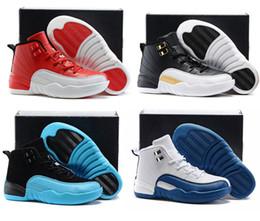 Zapatos de niños 12s Zapatos de baloncesto Niños Niñas Azul francés El taxi principal Niños Zapatos deportivos Niños pequeños Regalo de cumpleaños desde fabricantes