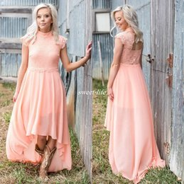 6ed87a31a49 2017 High Low Lace Country Bridesmaids Dresses High Neck Wedding Guest  Party Dress Chiffon Cheap Maid Of Honor Gowns Plus Size Cap Sleeves