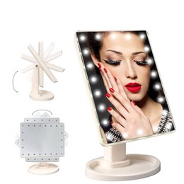 Wholesale Makeup Compacts - 360 Degree Rotation Touch Screen Make Up Mirror Cosmetic Folding Portable Compact Pocket With 16 22 LED Lights Makeup Tool