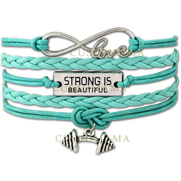 Wholesale Fitness Cords - Custom-Infinity Love Strong is beautiful Barbell Charm Fitness Wax Cord Wrap Braided Leather Adjustable Bangles Christmas Gift-Drop Shipping