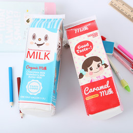 Wholesale Pencil Case Holder For Kids - 1PC Office School Stationery Creative Simulation Milk Box Material School Storage Gift for Kids Pencil Bags