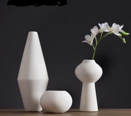 Wholesale Decorative Porcelain Flowers - Pure Handmade Porcelain Three Size Flower Vases Interior Design Pot Luxury Modern Style Decorative Ceramic Art Vase White Color Home Déc
