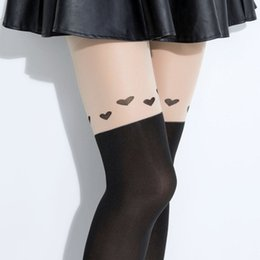 Wholesale Stockings Tattoo Design - Wholesale- 2016 Fashion New Design Style Women Girls Love Heart Nightclubs Black Slimmer Sheer High Stocking Pantyhose Tattoo Tight