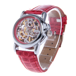 Wholesale Cjiaba Watches - CJIABA LA2012-R Rose Pattern Artificial Leather Band Mechanical Analog Skeleton Wrist Watch - Red