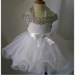 Wholesale Princess Gowns For Infant - Ivory Flower Girls Pageant Dresses Ball Gown Tulle Beaded Crystals Infant Vintage Puffy Cute First Holy Communion Gowns For Children