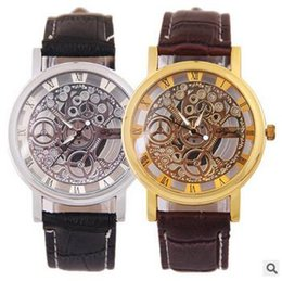 Wholesale Imitation Wristwatches - Luxury Woman Man Business wristwatch double-sided hollow out Imitation mechanical watch Graphic couple Leather quartz Transparent watches