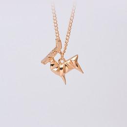 Wholesale Deer Choker - Origami Animal Elk Deer Pendant Necklace Simple Minimalist Creative Pet Chain Cool Gift For Women Men Fashion Choker Jewelry