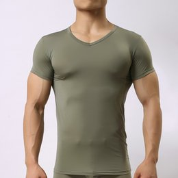 Wholesale V Neck Compression Shirt - Brand Man Sexy Sheer Spandex Compression Undershirts Men Seamless Silk V-neck Transparent sheer Shirt Gay underwear