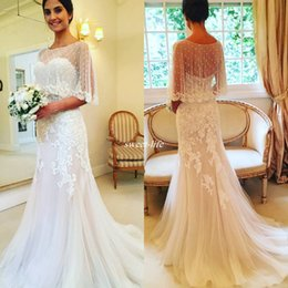 Wholesale Tulle Bridal Capes - Elegant Ivory Sheath Wedding Dresses with Cape 2017 with Buttons Back Chapel Train Tulle Sweetheart Country Vintage Bridal Wedding Gowns