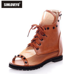 Wholesale Size 33 Boots - Wholesale- New Spring summer Women sandals Flat heel Lace up Rivets Knot Peep toe Ankle boots Hot sale High quality Plus size 33-43