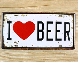 Wholesale Art Wall Plaque - Metal Tin Signs I LOVE BEER Wall art craft Iron Retro metal painting Tin Signs 15x30cm Plaques Mural XD-1250 wall pictures