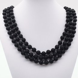 """Wholesale Wholesale Long Beaded Necklaces - 8mm 60""""Hand Knotted Matte Black Onyx ,Long Necklace ,8mm black onyx Necklace ,Gemstone Necklace,Gifts"""