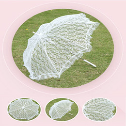 Wholesale Bride Umbrellas - Lace Embroidered Parasol White Umbrella Beautiful Photo Props Vintage Wedding Umbrellas Accessories For Bride Groom and Guest