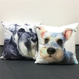 Wholesale Cute Seat Covers For Cars - Cool Cute Schnauzer Dog Cushion Covers Lovely Dogs Pillow Cover Decorative Baby Boys Girls Soft Pillow Case For Car Sofa Seat Gift