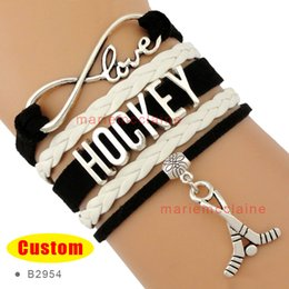 Wholesale Fields Fashion - (10 Pieces Lot) High Quality Infinity Love Hockey Stick Charm Field Hockey Ice Hockey Bracelets For Women Black White Fashion Jewelry