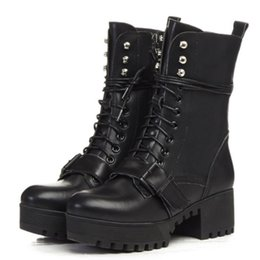 Wholesale Trendy Rubber Boots - SJJH Fashion women real leather thick platform mid calf martin boots with lace up and strap buckle trendy shoes SCL059