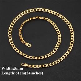 2019 желтое золото 18 k ожерелье Реальный 18k желтое золото покрытием 5 мм 24inches цепи ожерелье Снаряженная цепь Ссылка для мужчин женщин скидка желтое золото 18 k ожерелье